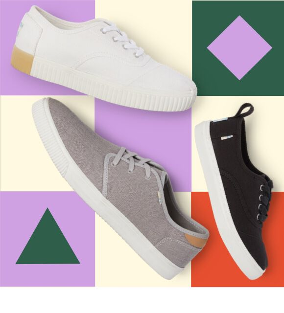 Color graphic geometrics shapes and shoes featured from the back to school collection: White Canvas Women's Cordones Indio Sneakers, Black Canvas Youth Cupsole Cordones Sneakers, and Drizzle Grey Heritage Canvas Men's Carlo Sneakers.